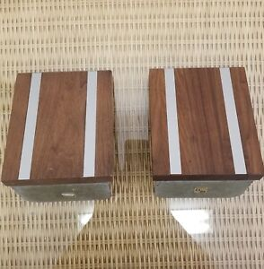 Pair Vintage Mid Century Modern Park Sherman Solid Walnut Aluminum Bookends
