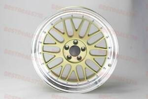 18x8 5 Gold Face Silver Lip Lm Style Rims Wheels Fits Mercedes Benz Vw 5x112