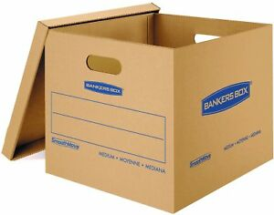 Bankers Classic Moving Boxes Tape free Easy Carry Handles Medium 10 Pack