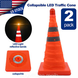 2x17 8 High Vi Hazard Block Reflective Traffic Road Cone Collapsible Led Safety