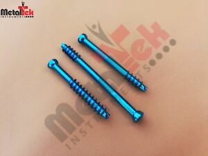 4 0mm Cannulated Screw Short Threaded Titanium self Tapping Self Drilling 35 Pc