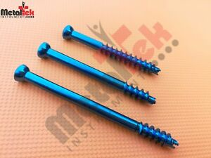 Cannulated Screw 4 5mm Short Threaded Titanium self Tapping Self Drilling 35 Pcs