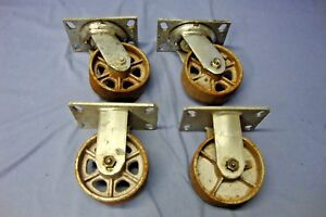 Set Of 4 Albion Cast Iron 5 X 2 Casters 2 Rigid 2 Swivel