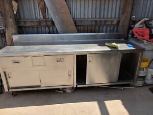 32 X 96 Stainless Steel Work Table With 2 Drawers 4 Sliding Doors