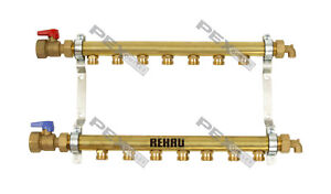 7 Circuit Brass Radiant Floor Heat Manifold For Pex Pipe hlv7
