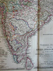British India 1858 Acquisitions 1860 Stieler Scarce Old Map Political Boundaries