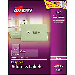 Avery Easy Peel Permanent Laser Address Labels 5661 1 X 4 Clear 1 000 pk