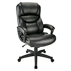 Realspace Fennington High back Bonded Leather Chair Black black