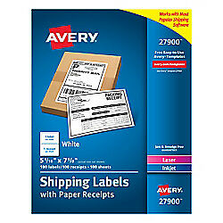 Avery r Shipping Labels With Paper Receipts 27900 5 1 16in X 7 5 8in