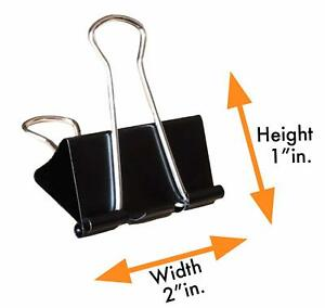 Binder Clips Large Binder Clips 2 inch 24 Pack Black Large Paper Clamp New