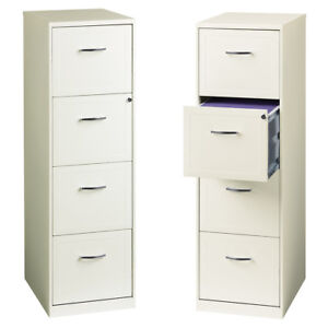 4 Drawer File Cabinet In White 18 Built in Lock Letter File Cabinet Vertical