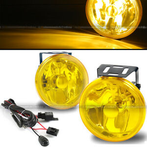 For H3 H1 4 Round Yellows Bumper Driving Fog Light Lamp Switch Harness
