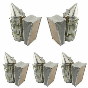 Set Of 5 Bee Hive Smoker Stainless Steel W Heat Shield Beekeeping Equipment Sw
