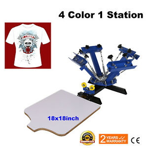 4 Color 1 Station Silk Screen Printing Machine Press Equipment T shirt 18x18inch