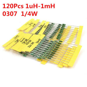 120pcs 1 4w Inductor Assortment 0307 0 25w Color Ring Inductors Kit Set 1uh 1mh