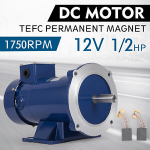 Dc Motor 1 2hp 56c Frame 12v 1750rpm Tefc Magnet Smooth Applications Permanent