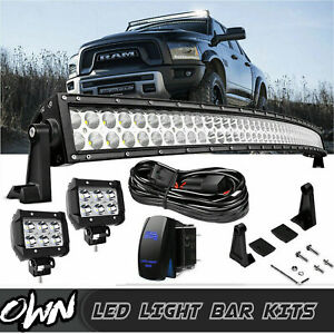 Fit Dodge Ram 1500 2500 3500 Upper Roof 54 4 Curved Combo Led Work Light Bar