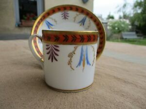 Antique French Empire Old Paris Porcelain Cup Saucer Early Xixth Palm Leaves
