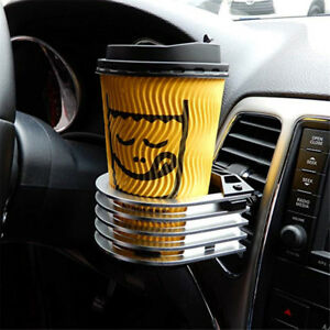 1pc Universal Car Truck Drink Cup Holder Air Vent Mount Water Bottle Metal Stand