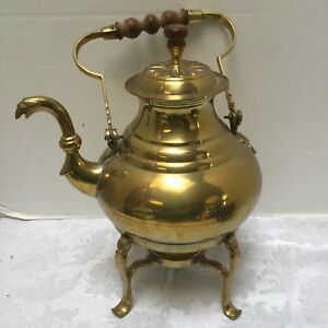 Copper Vintage Coffee Tea Pot On Warmer Stand Serpent Spout Wooden Server Handle
