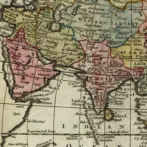 Asia Arabia India China Persia Tibet Tartary C 1790 Kitchin Old Map Hand Color