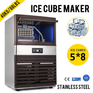 40kg 88lbs Intelligent Ice Cube Making Machine Digital Control Refrigeration Ice