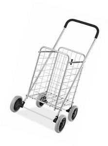Folding Shopping Cart Jumbo Size Basket With Wheels Laundry Travel Grocery New