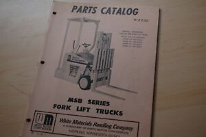 White Msb20 Msb25 Msb30 Msb35 Forklift Truck Spare Parts Manual Catalog Book Msb