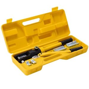 16 Ton Cable Lug Hydraulic Wire Terminal Crimper With Dies Tool Set Plastic Box