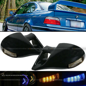 For 92 95 Civic 4dr M 3 Style Led Manual Side Mirror Arrow Signal Amber Blue
