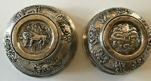 Pair Antique Rice Tea Bowls Chinese Silver W Wood Band And Motifs