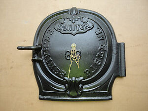 Original Monitor Fh Haines Presque Isle Maine Me Cast Iron Wood Stove Door Clock