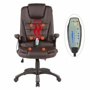 Executive Ergonomic Massage Chair Heated Vibrating Computer Office Desk Brown
