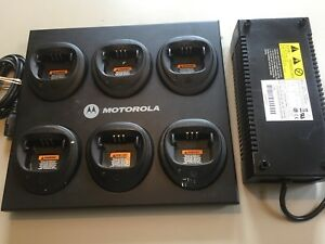 Motorola Cp200 Cp150 Pr400 Etc Six Unit Charger Wpln4171a In Good Condition