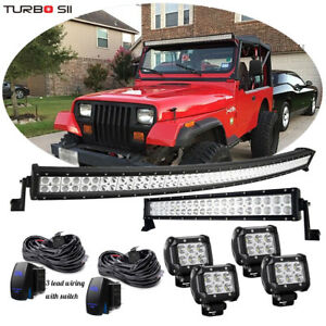 Jeep Wrangler Grand Cherokee 50 Curved Led Light Bar 20 22 4 18w Pods Combo