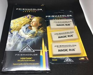 Prismacolor Premier Verithin 12 Pack Hard Thin Lead Pencils Magic Rub Erasers