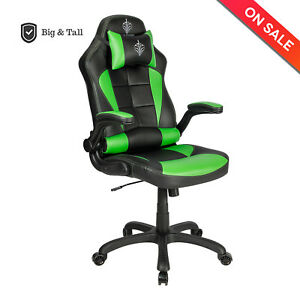Blue Sword Racing Gaming Chair Large Computer Office Chair With Flip up Armrest