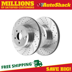 Rear Drilled Slotted Performance Rotors Pair 2 For 07 09 2010 Ford Edge 680546