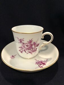 Hochst Hand Painted Porcelain Purple Floral Cup Saucer E Made In Germany New