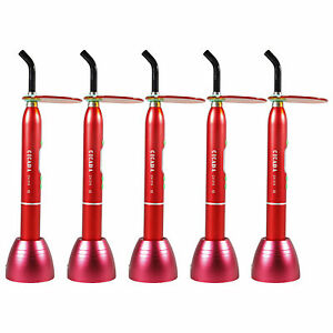 5pcs Dental Red Cordless Wireless Led Curing Light Lamp 1800mw D2 10w H