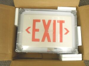 Dual Lite Hubbell 2 Face Led Exit Sign White Plastic Housing Red Letter Color