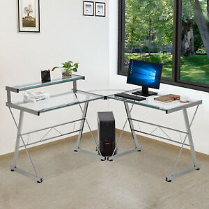 L shape Pc Computer Desk Corner Glass Laptop Table Workstation Home Office Study