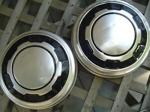 Two Ford 16 In Pickup Truck Dog Dish Center Caps Hubcaps Wheel Covers 3 4 Ton