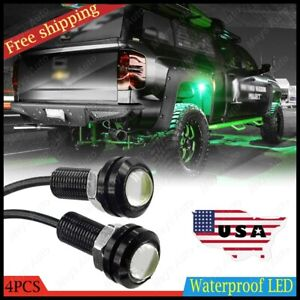 4x Green Led Rock Light Under Body Trail Crawl Glow For Jeep Atv Off Road Truck