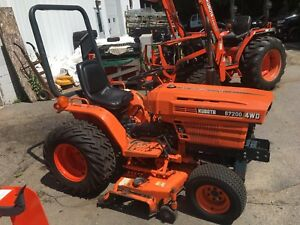 Kubota B7200 4 Wheel Drive 17 Hp Diesel Tractor W Belly Mower
