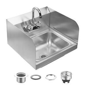 Wall Mount Commercial Nsf Kitchen Hand Sink Stainless Steel With Side Splashes