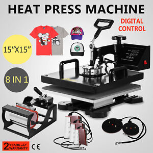 8in1 Combo T shirt Heat Press Transfer 15 x15 Printing 1000w Sublimation Newest