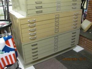 Vintage Blueprint Filing Cabinet Section W 5 Drawers 41 X 53 Creme Color