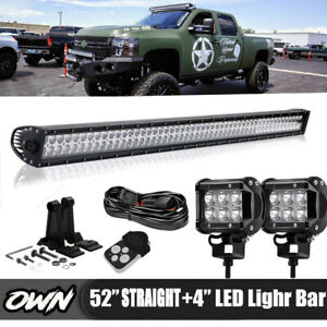 50 Curved Led Light Bar roof Windshield Brackets 2000 06 Chevy Suburban Tahoe