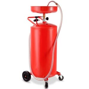 20 Gallon Portable Oil Drain Air Operated Oil Waste Drainage Lift Tank Tool Red